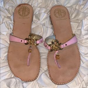Lilly Pulitzer gold and pink sandals